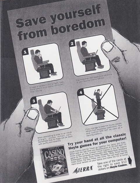 Airline seat pocket ad concept.