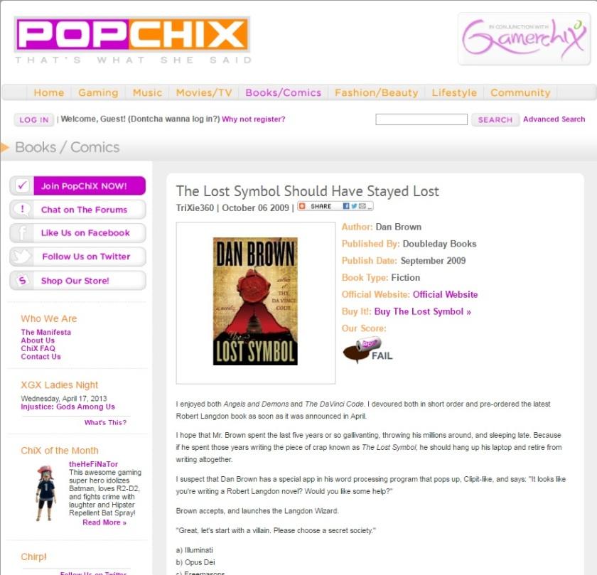 Book review for Popchix.com