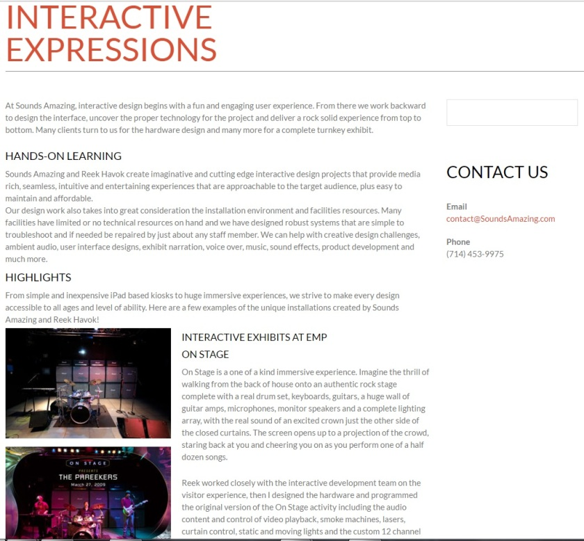 Text for Sounds Amazing website