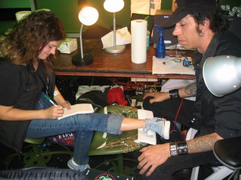 Interviewing tattoo artist at Zero Hour